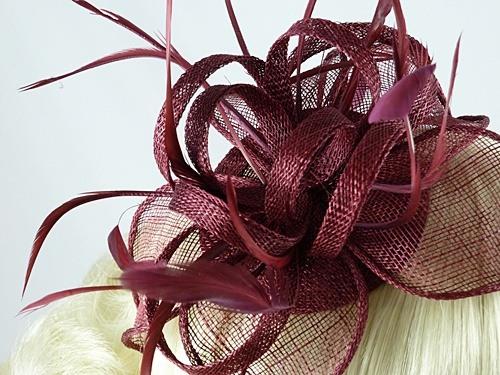 9aed0e38863 Fascinators 4 Weddings - Vivienne Fascinator in Burgundy