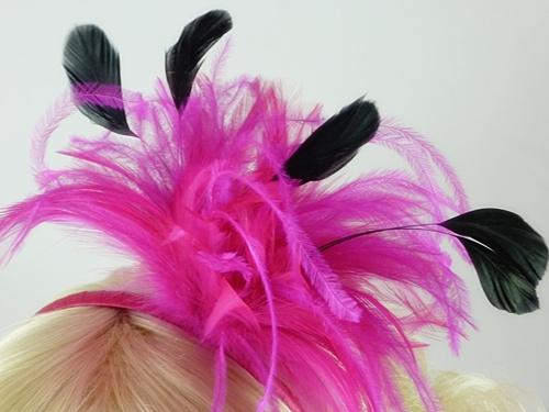 Cerise Feather Fascinator