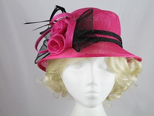 0c7a54ec266e4 Wedding Hats 4U - Twin Rosette Occasion Hat in Cerise   Black