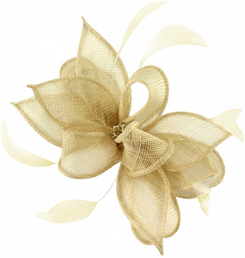 Failsworth Millinery Sinamay Clip Fascinator in Champagne
