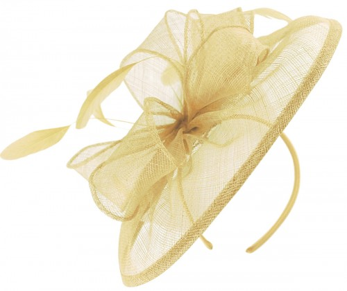 Failsworth Millinery Sinamay Disc Headpiece in Champagne