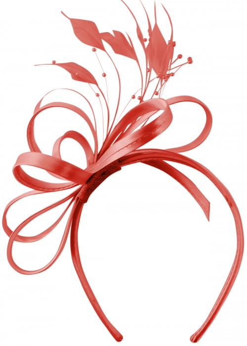 Elegance Collection Satin Loops Aliceband Fascinator in Coral
