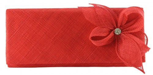 Elegance Collection Sinamay Diamante Occasion Bag in Coral