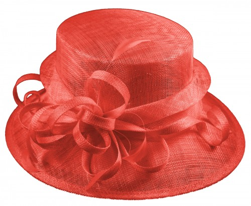 Elegance Collection Sinamay Loops Wedding Hat in Coral