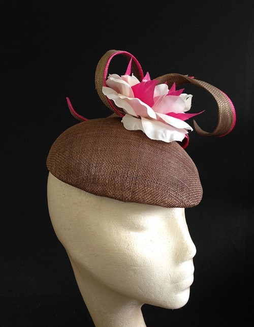 Couture by Beth Hirst Brown and Hot Pink Beret