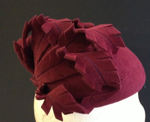 Couture by Beth Hirst Burgundy Feather Felt Beret