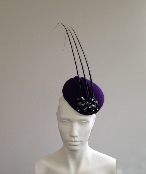 Couture by Beth Hirst Gorgan Purple Ridged Felt beret with crystals