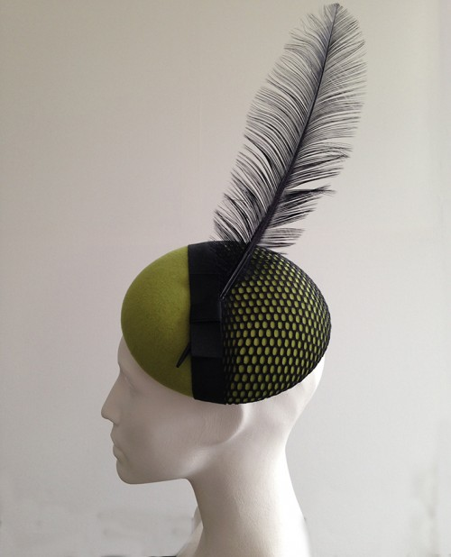 Couture by Beth Hirst Kermit Green felt beret with mesh and feather