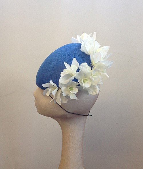 Couture by Beth Hirst Royal Blue Beret with White Orchid Flowers