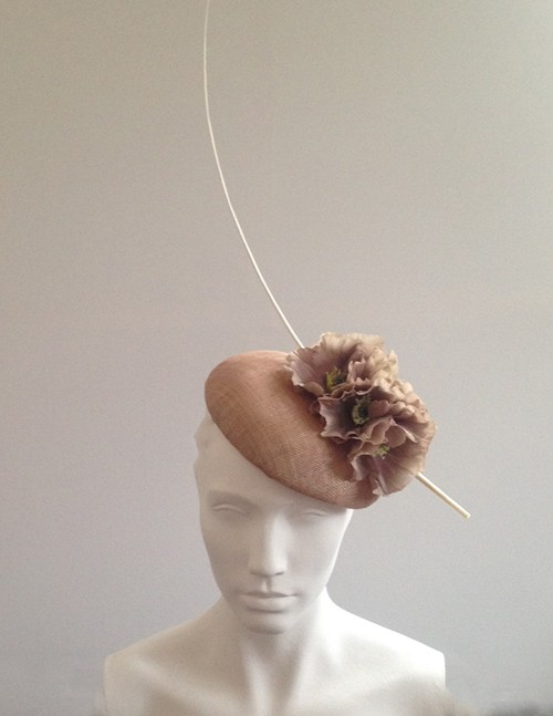 Couture by Beth Hirst Waldorf Almond beret with poppies and quill