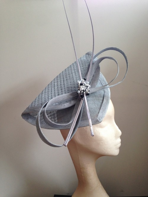 Couture by Beth Hirst Beaded Silver Quills Headpiece
