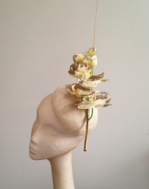 Couture by Beth Hirst Striking Gold Orchid Button Beret