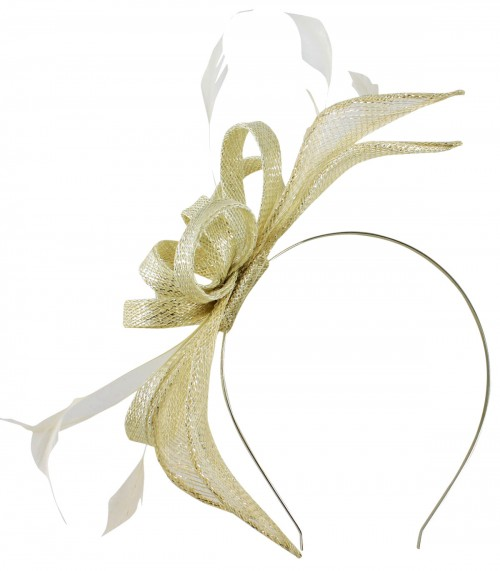 a70c263b87dd2 Failsworth Millinery Sinamay Fascinator in Cream-Silver