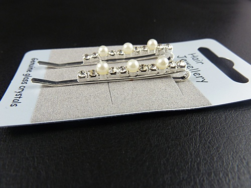 Diamante and Pearl Hair Grips