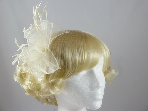 Aurora Collection Fascinator with Curled Fabric and Biots