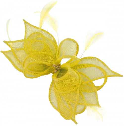 Failsworth Millinery Sinamay Clip Fascinator in Daffodil