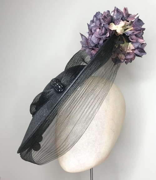 Deb Fanning Millinery Black Sinamay and Crinoline Hydrangea Hat