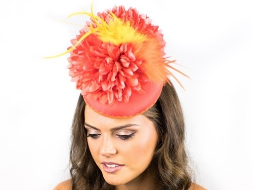 Deb Fanning Millinery Flower Power Orange Dahlia Hat