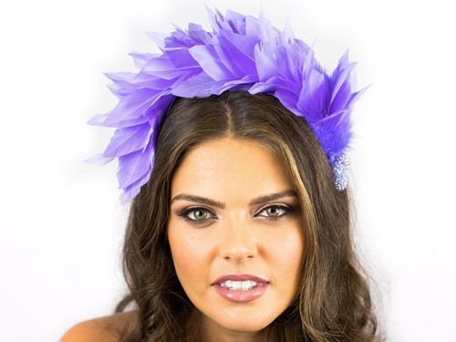 Deb Fanning Millinery Lilac Feathered Headpiece
