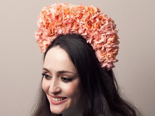 Deb Fanning Millinery Peach Petal Crown
