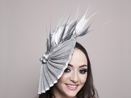 Deb Fanning Millinery Silver Moon Waves Hat with Silver Feathers