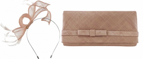 Max and Ellie Sinamay Fascinator with Matching Occasion Bag in Dusk