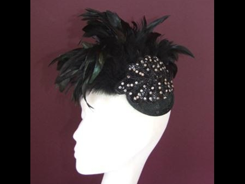Edel Staunton Millinery Black Flapper Headpiece