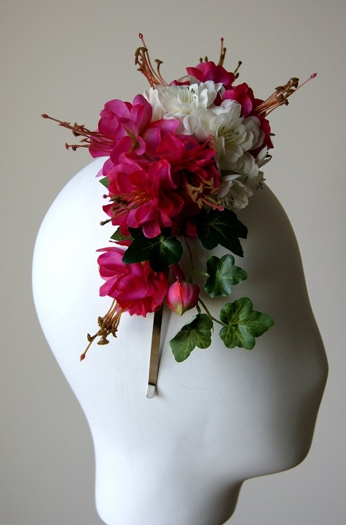 Elouise Collection Pink and White Silk Floral Headband