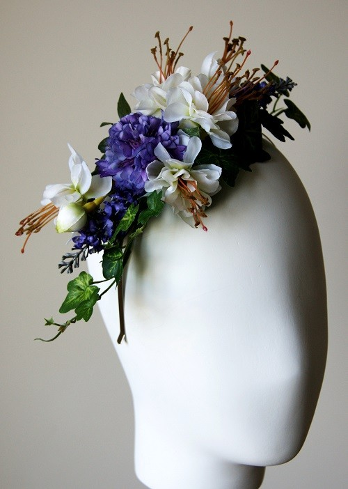 Elouise Collection Purple and White Silk Floral Headband