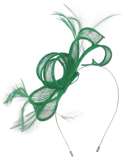 Max and Ellie Sinamay Fascinator in Emerald