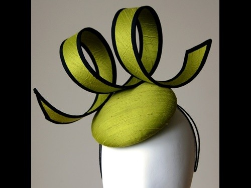 Esther Louise Millinery Lime Hand Woven Silk Button