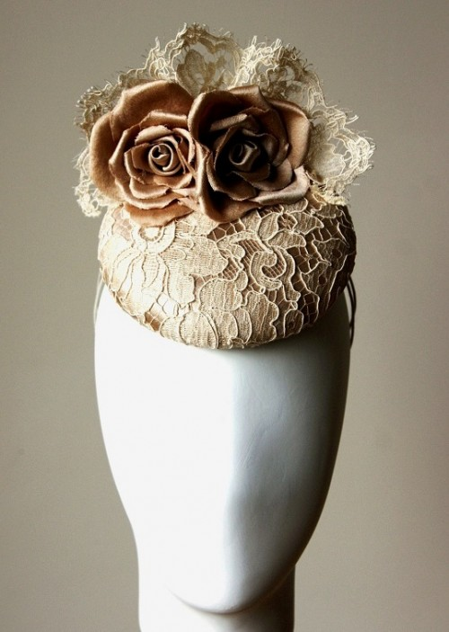 Esther Louise Millinery Champagne Silk and Lace Button Hat