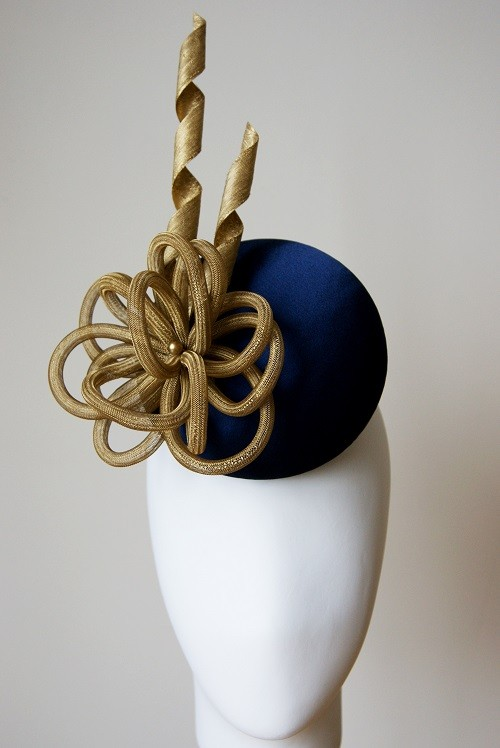 Esther Louise Millinery Navy Silk Button