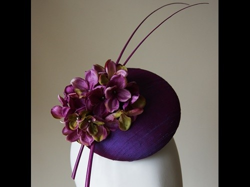 Esther Louise Millinery Purple silk hydrangea hat