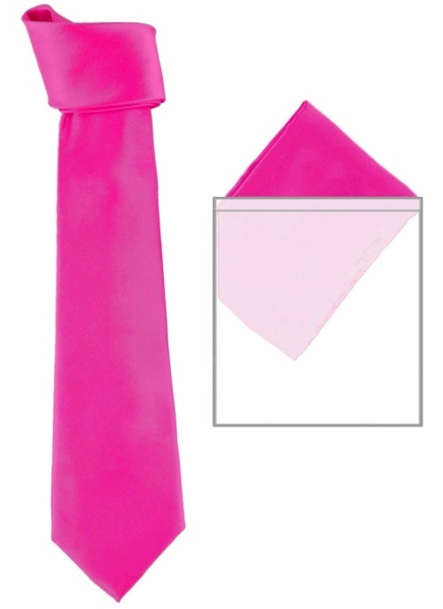 Max and Ellie Mens Tie and Pocket Square Set in Flamingo