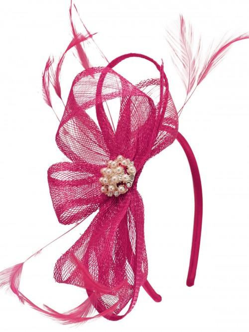 Elegance Collection Sinamay Headpiece Fascinator in Fuchsia