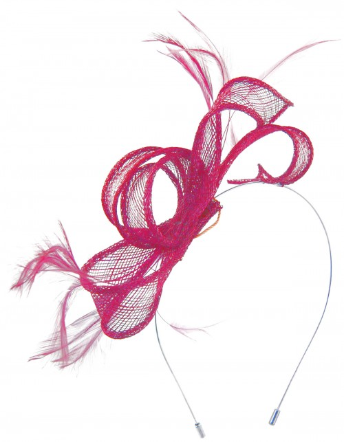 Max and Ellie Sinamay Fascinator in Fuchsia