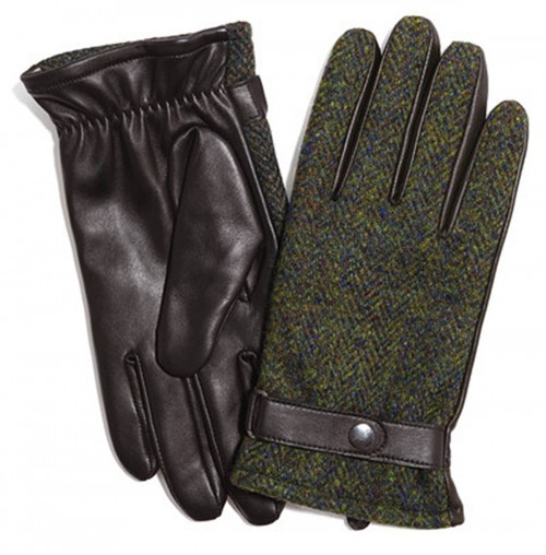 Failsworth Millinery Harris Tweed Gloves in Green/Brown
