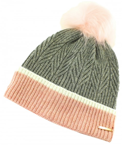 Alice Hannah Ella Knitted Wool Beanie Bobble Hat