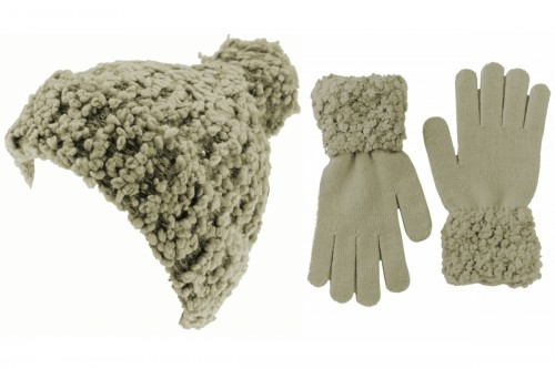 Hawkins Ladies Popcorn Bobble Hat with Matching Gloves
