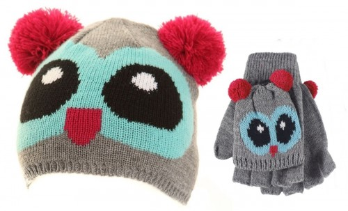 Jiglz Knitted Novelty Kids Ski Hat and Gloves