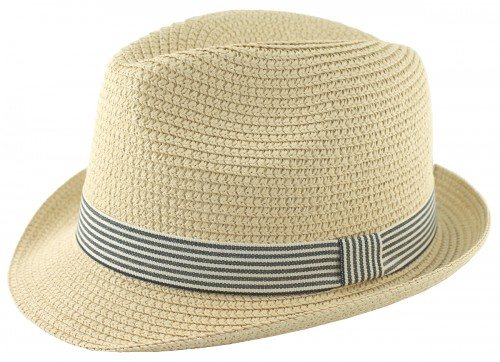 Hawkins Straw Trilby with Blue Banding