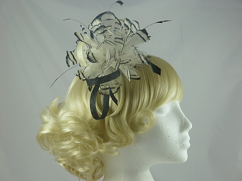 Feather and Sinamay Loops Fascinator