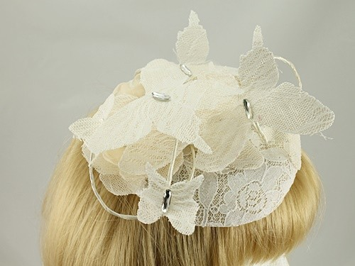Ivory Butterfly Button Headpiece