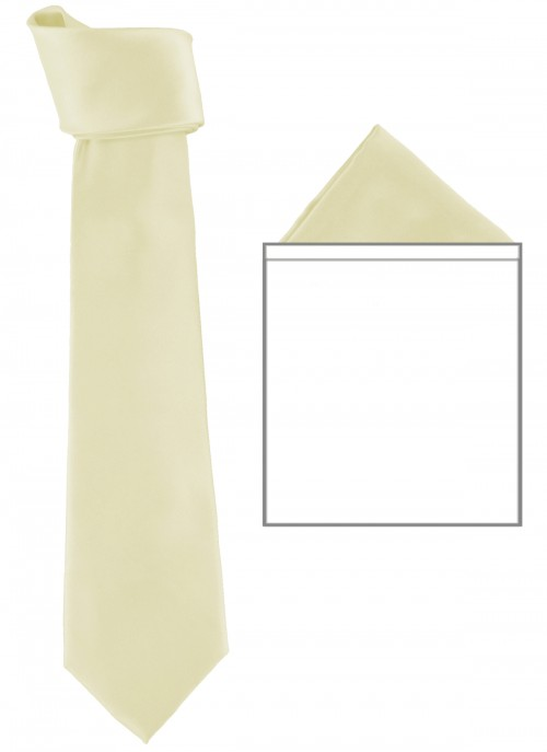 Max and Ellie Mens Tie and Pocket Square Set in Ivory