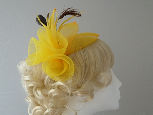 ec22ffeb Wedding Hats 4U - Large Bright Fascinator in Yellow