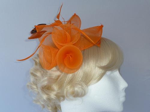 144bffb8 Wedding Hats 4U - Large Bright Fascinator in Orange