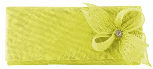 Elegance Collection Sinamay Diamante Occasion Bag in Lime