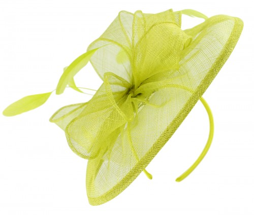 Failsworth Millinery Sinamay Disc Headpiece in Lime