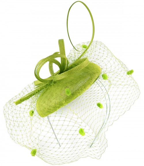 Max and Ellie Pillbox Fascinator in Lime